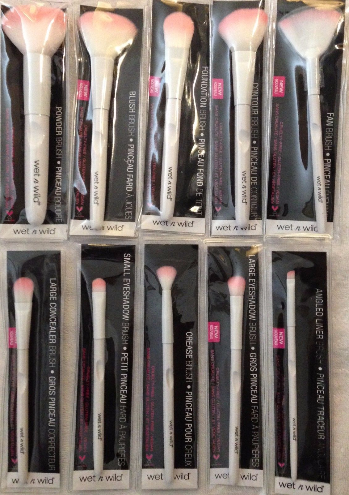 wet n wild makeup brushes. brushes: wet n wild makeup brushes lot of 10 pink white crease blush fan brush w
