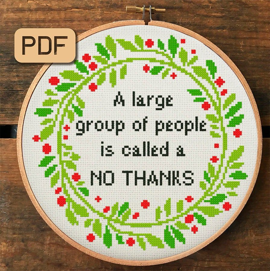 Photo of Funny Cross Stitch Pattern, A Large Group Of People Is Called A No Thanks Cross Stitch Pdf, Subversive Embroidery Hoop Art