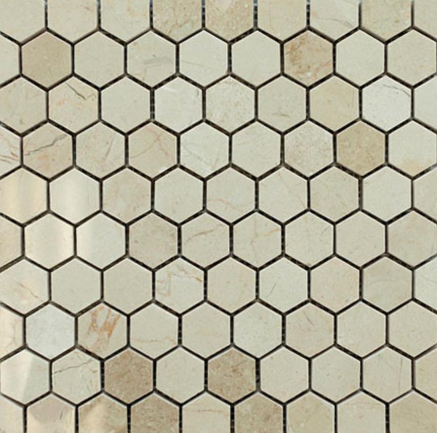 """Crema Marfil Hexagon Pattern Stone Tile Mosaics Product Description Tile Size: CBM Finish: 1"""" Hexagon HTCESMCM12"""