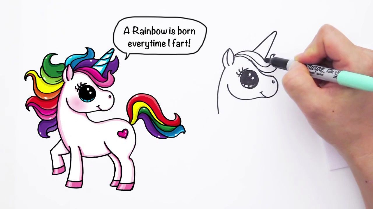 how to draw a cool coloured unicorn step by step
