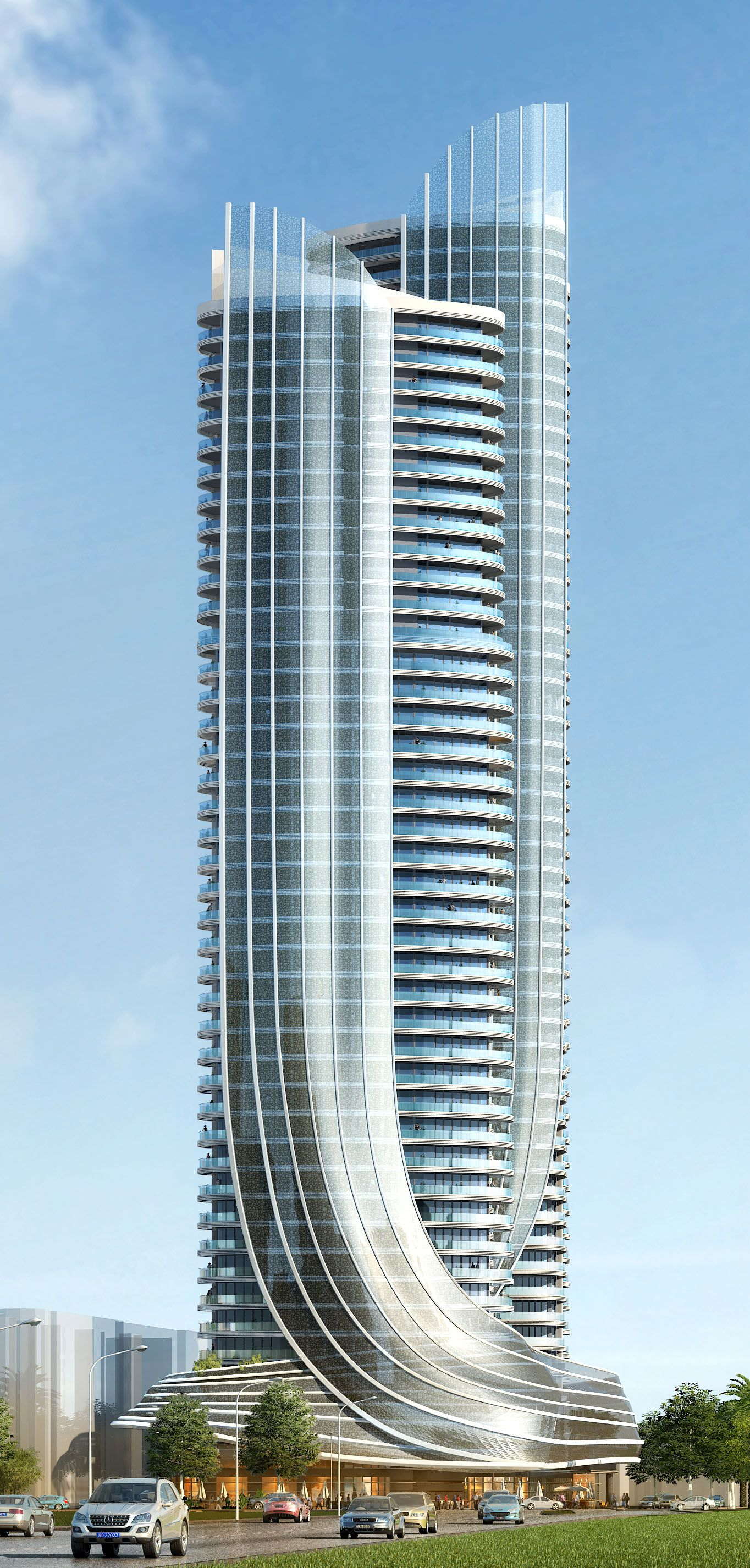 Elegance Two Towers 43 And 50 Storeys Create A Landmark Building Along The Busy Gold Coast Highway QLD Australia Featuring Sculptural Wrap Around