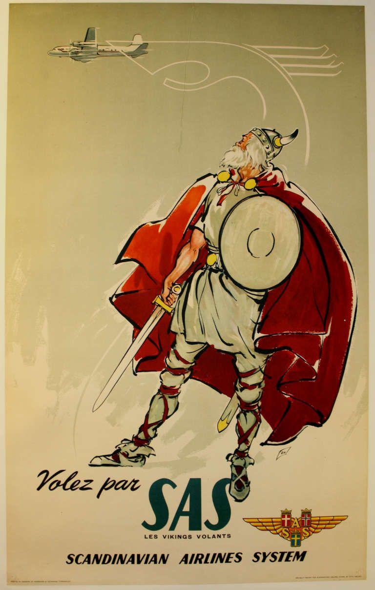 Poster design 1950 - Original Vintage Poster For Scandinavian Airlines System Sas Flying Vikings