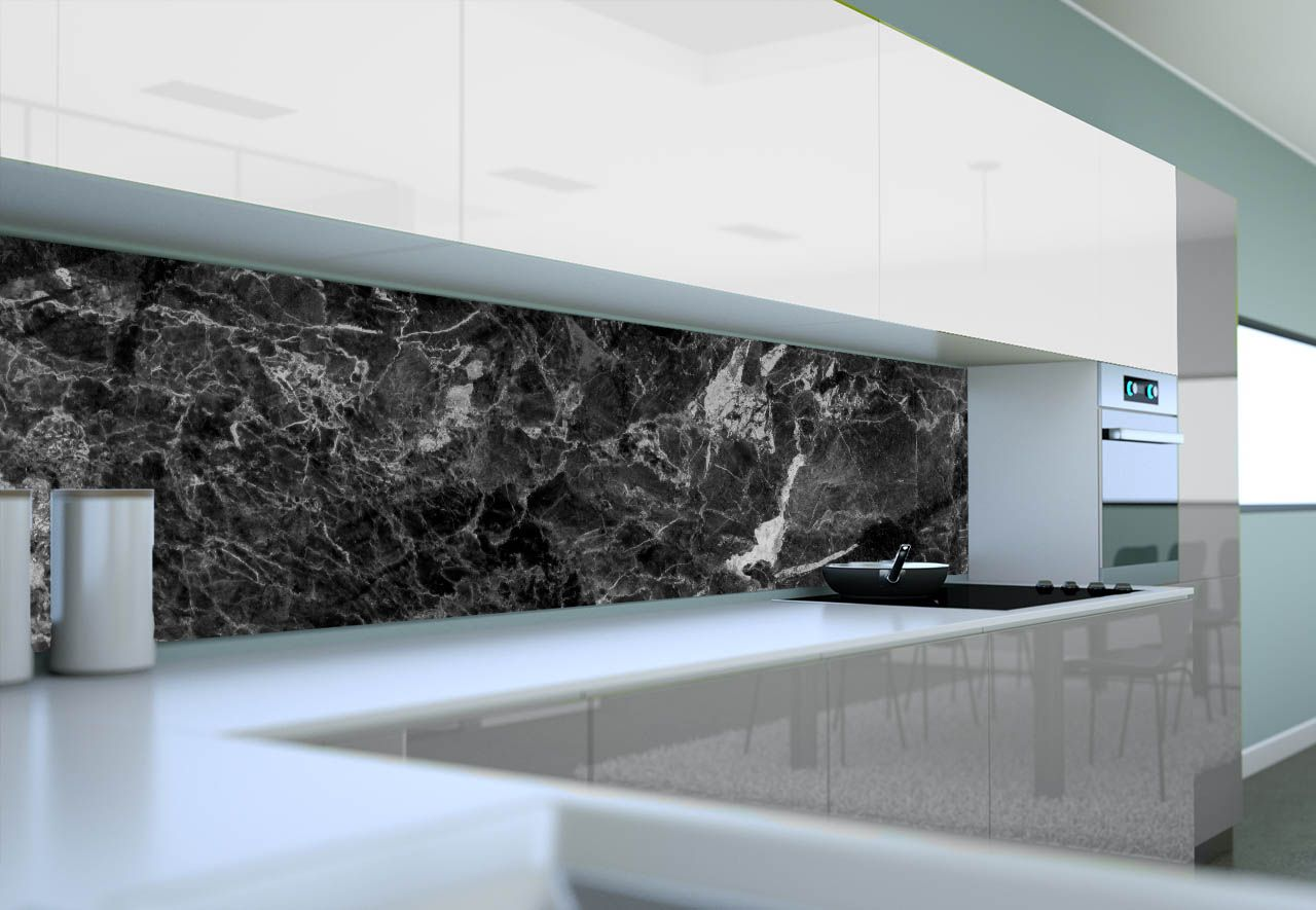 Panel Szklany Do Kuchni Czarny Marmur Design Home Flat Screen