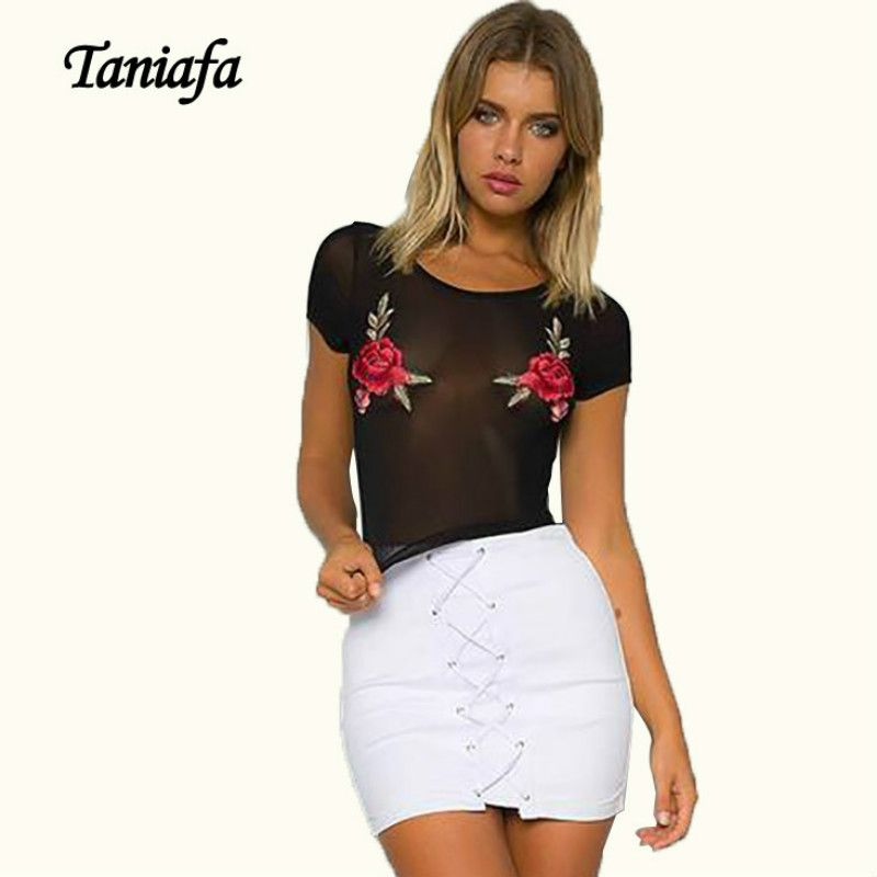 TANIAFA Summer Women Sexy Black Mesh Rose Floral Embroidery Short Sleeve  Crop Top T Shirts See