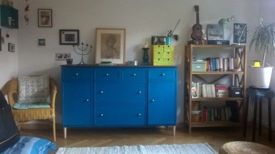 Ikea Kallax Credenza : Ikea expedit turns into beautiful blue sideboard cabinet