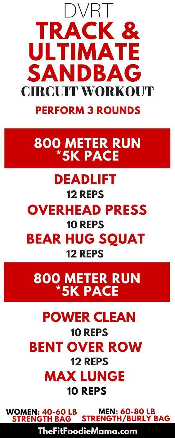 DVRT Track and Ultimate Sandbag Circuit Workout {@ultimatesandbag, dynamic variable resistance training, track workout, sprint workout, functional training, functional fitness, strength training workout for runners}