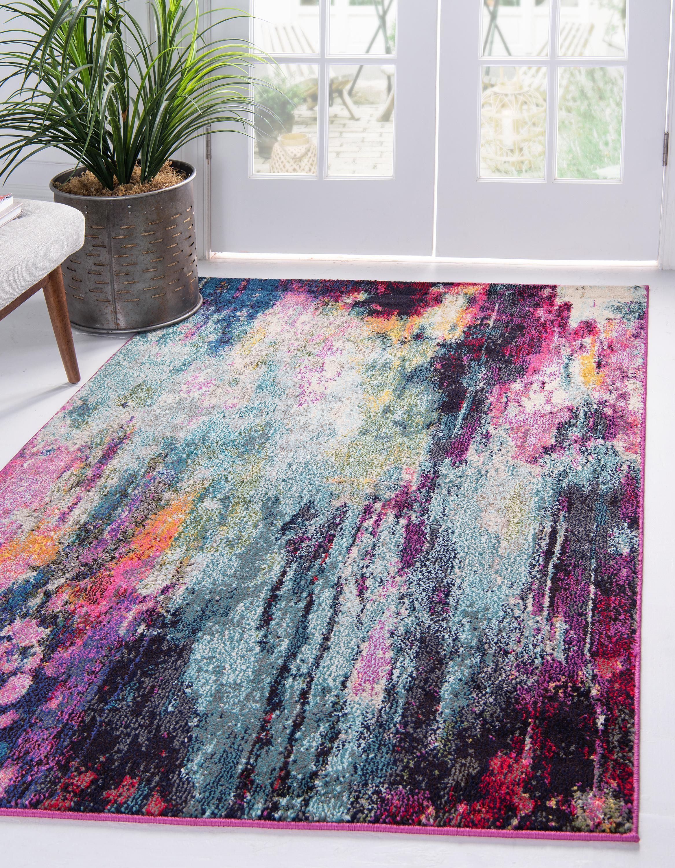 Corban Watercolor Purple Blend Rug Unique Loom Area Rugs Rugs In Living Room