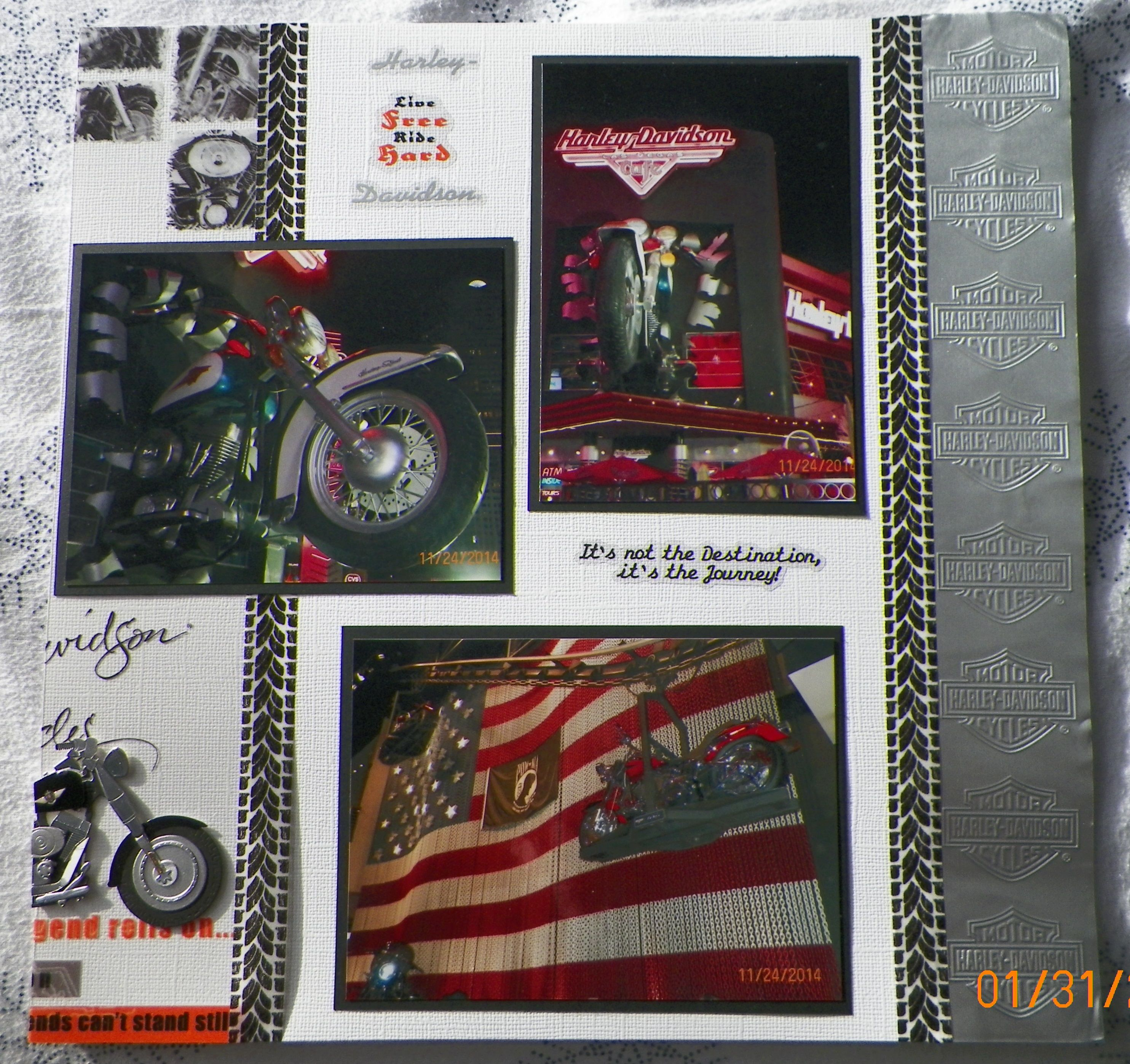 Scrapbook ideas las vegas - Handmade Scrapbook Layout Pg 2 Ek Success Harley Davidson Las Vegas