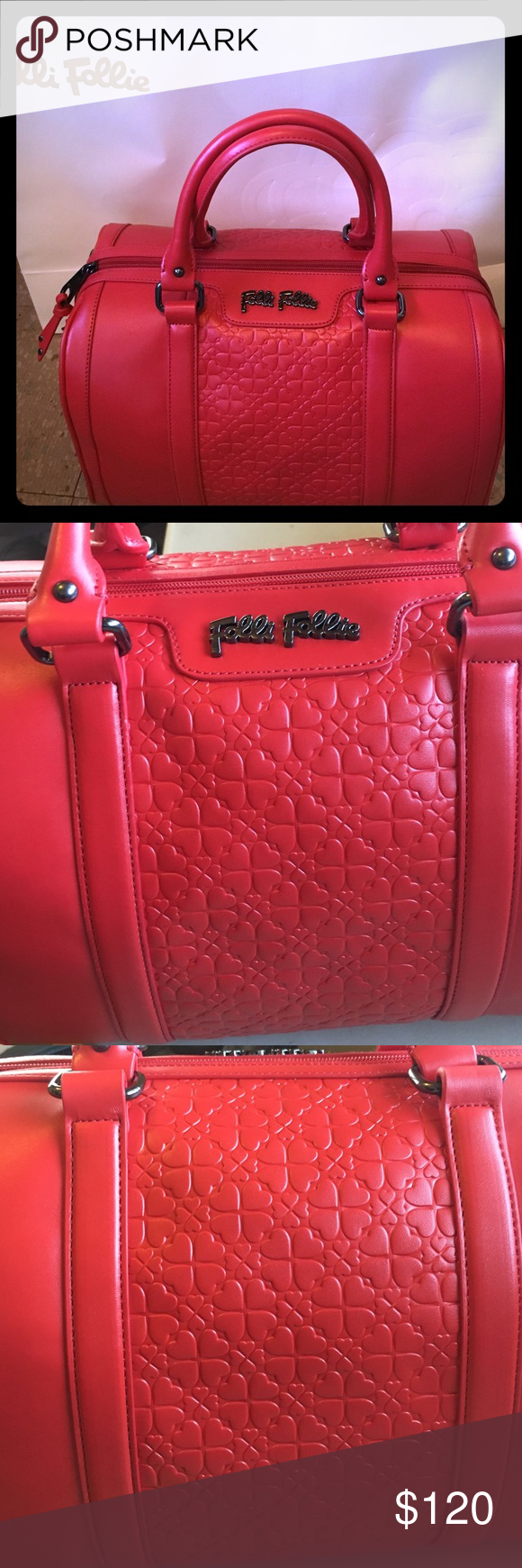Folli Follie handbag New. Folli Follie satchel in red. New all tags on dust bag, shopping bag, 2016 collection. Size: 12 inches in length, 7 inches in length, 6 inches in width. Bag has never been used. Folli Follie Bags Satchels