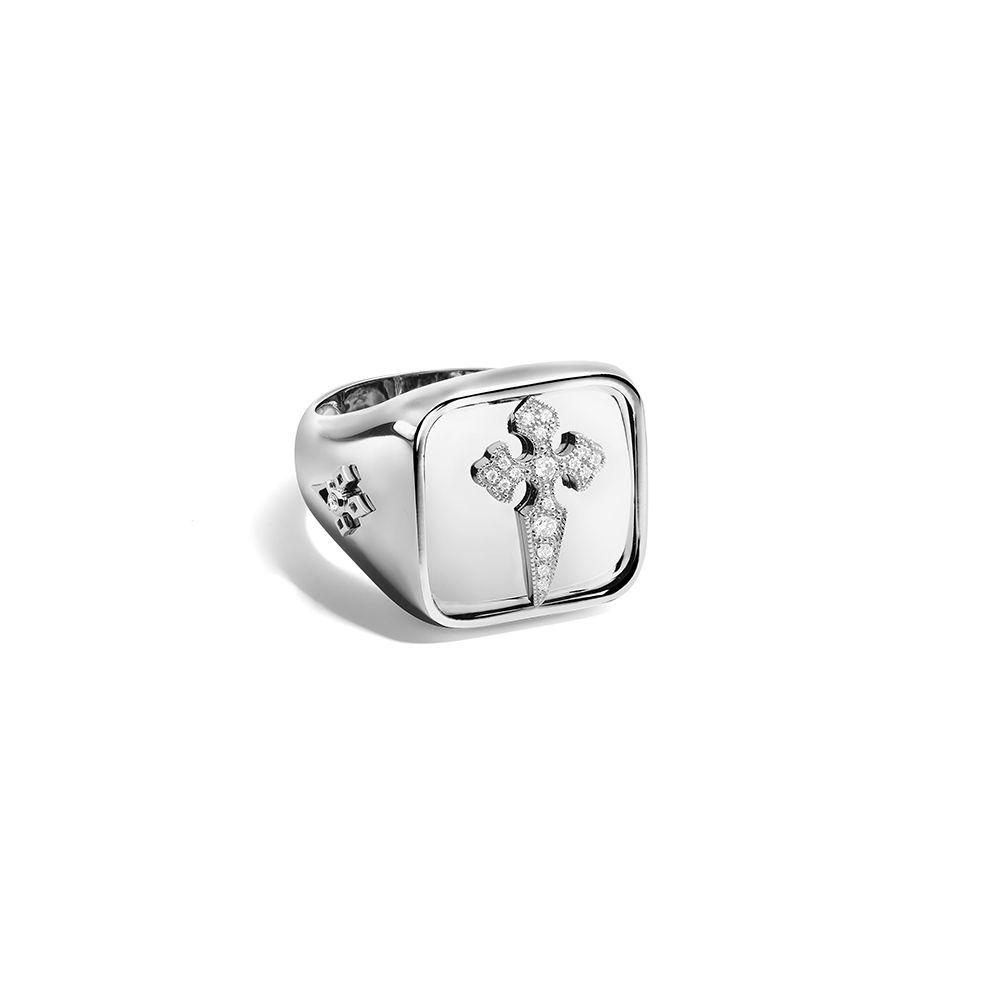 Blood Diamonds Chevalière Or blanc et diamants blancs www.stoneparis.com/