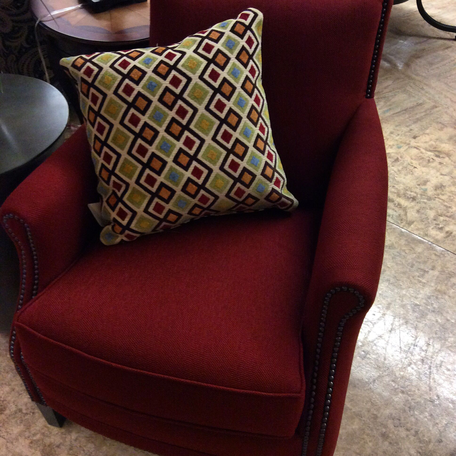 Smith Brothers Chair, Deep Red Fabric With Graphite