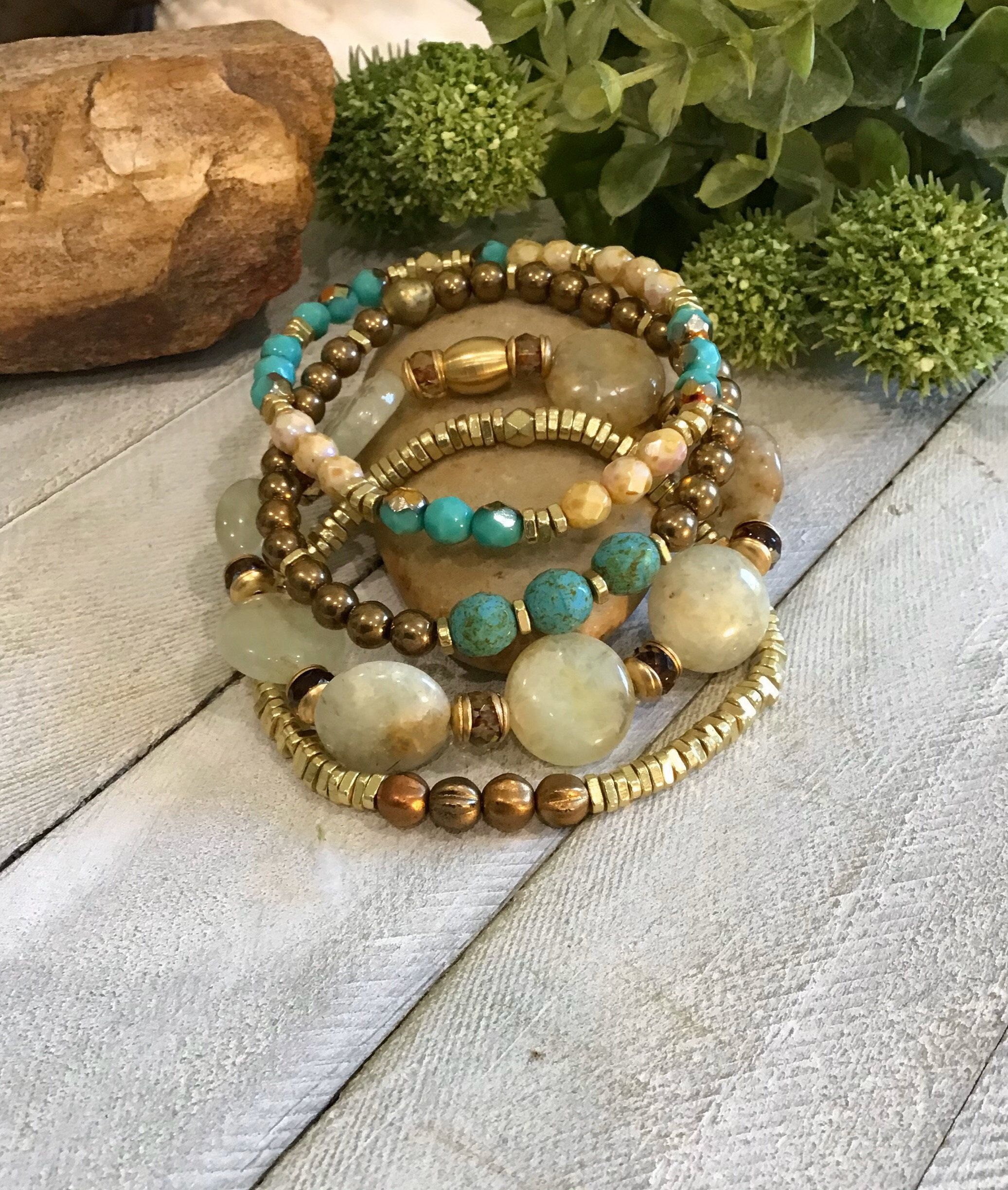 Bohostyle Gemstone & Czech Beaded Bracelet Stack by KathiFergusonJewelry on Etsy