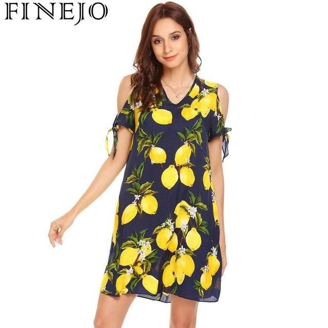 Fruit Casual Cold Shoulder Short Sleeve Women Printing A-Line Short Dress Navy Blue XXL #navyblueshortdress