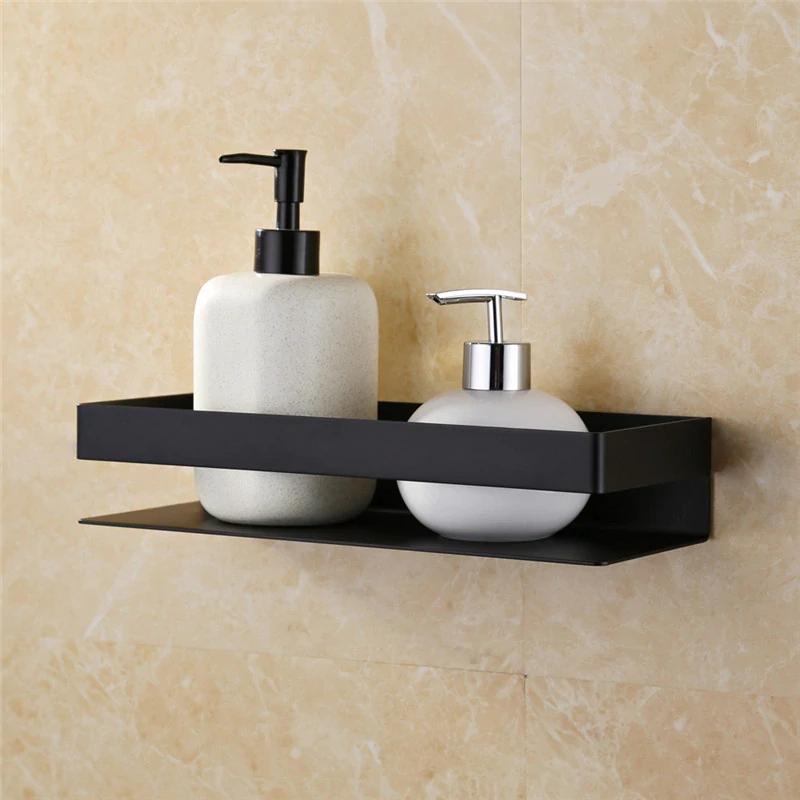 Matt Black Stainless Steel Bathroom Shelf Shower Rack Wall Mounted Modern Angular Design H Shower Shelves Black Bathroom Accessories Stainless Steel Bathroom