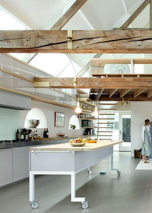 Minimalist Garage Converted Into A Kitchen Ideas: Modern Old Barn House Minimalist