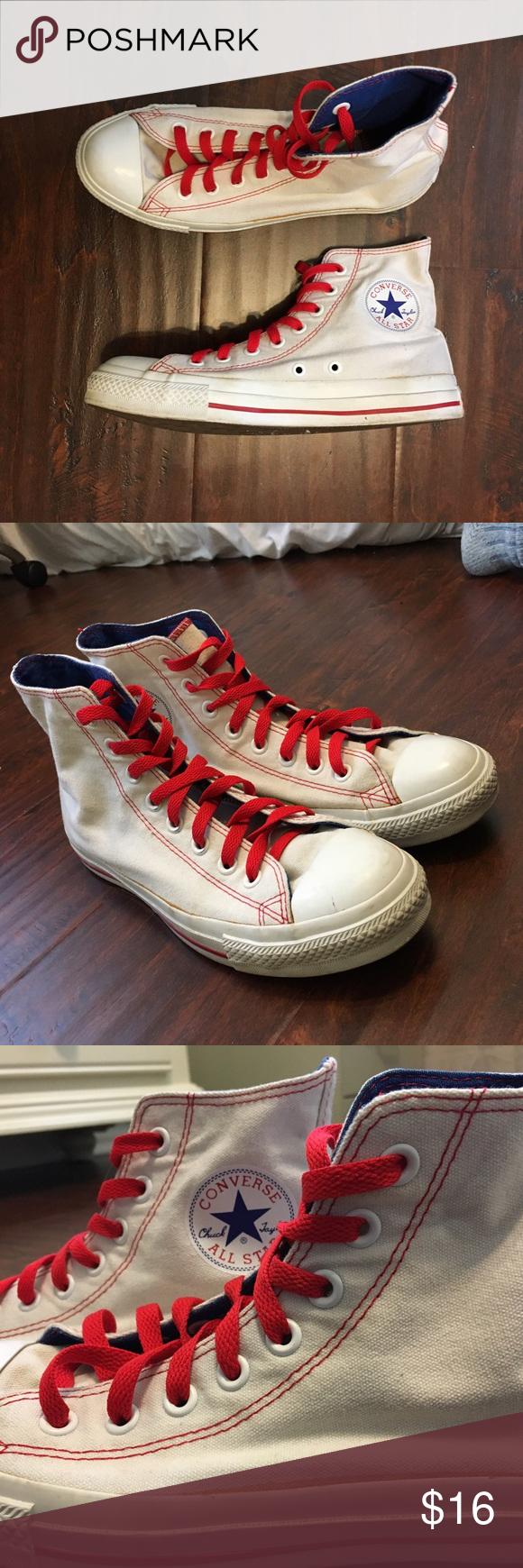 White Converse High Tops W/ Red \u0026 Blue