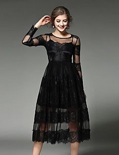 MAXLINDY+Women's+Lace+Going+out+/+Party+/+Holiday+Vintage+/+Street+chic+/Midi+Lace+Dress+–+GBP+£+21.83