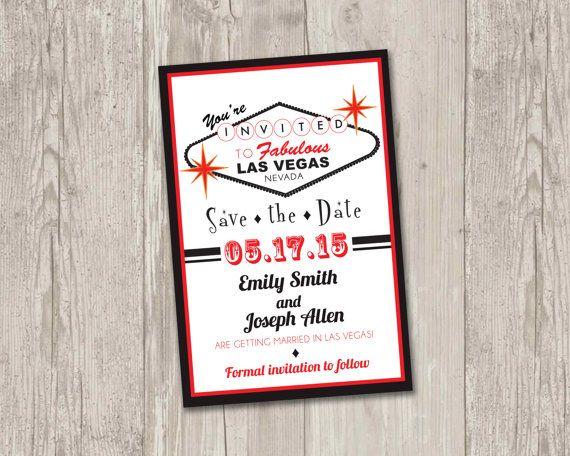 Las Vegas Save The Date Printable By Thepapervioletpe Themed Weddingvegas Wedding Invitationslas