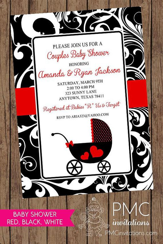 boy baby shower invitations australia%0A Red Black White Carriage Baby Shower Invitation by PMCInvitations