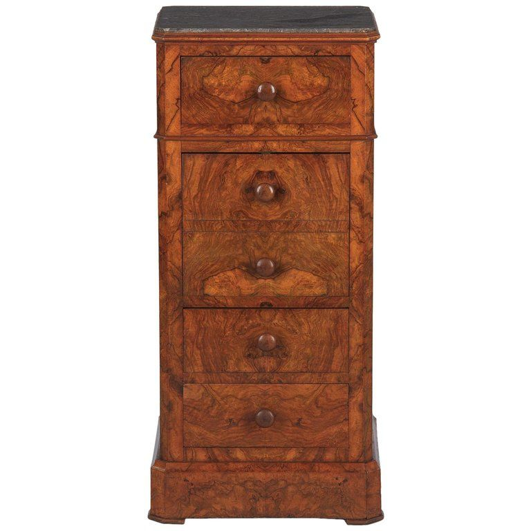 8499b95257 For Sale on 1stdibs - Exquisite burl walnut book veneer Louis Philippe  bedside cabinet with rich gray marble top, French circa 1850s.