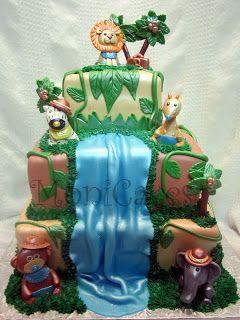 jungle fondant cake | MoniCakes: Jungle / Safari Waterfall Cake w/ fondant animals