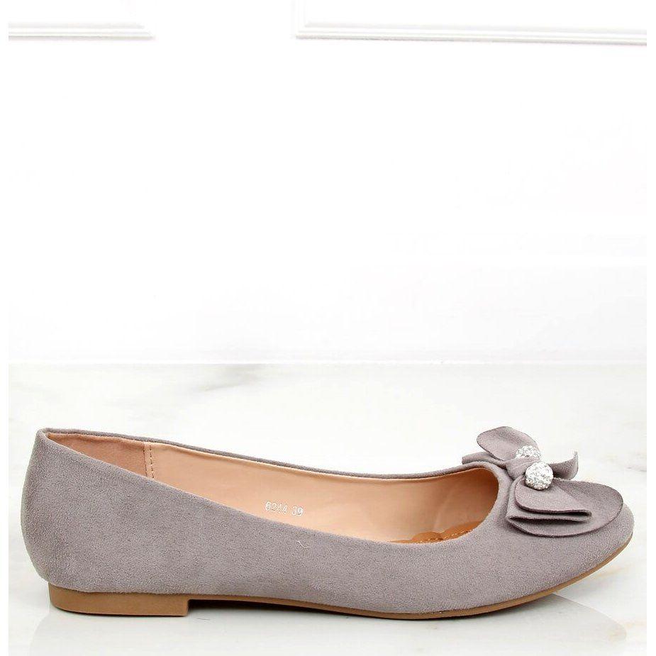 Baleriny Damskie Szare 6244 Grey Shoes Flats Fashion