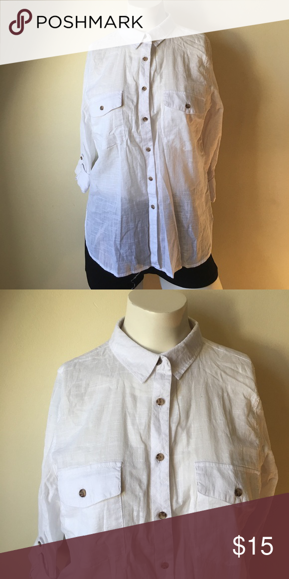 White button down Excellent condition J&J Tops Button Down Shirts
