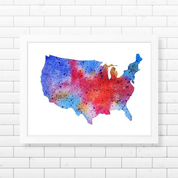 USA Map Printable, Watercolor United Stated Map Wall Art Abstract ...