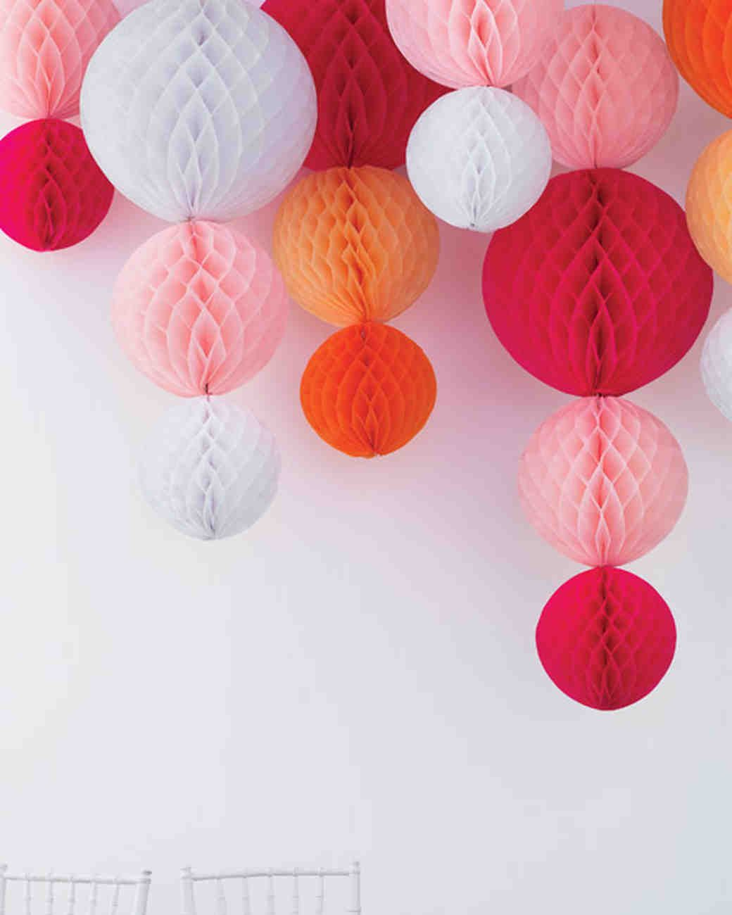 Diy wedding ideas diy wedding garlands and centerpieces paper ball chandeliers by martha stewart easily made with premade honeycomb tissue balls in combination with paper lanterns reception perhaps arubaitofo Choice Image