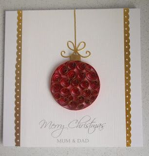 Paper Daisy Cards: Quilled bauble card, take two