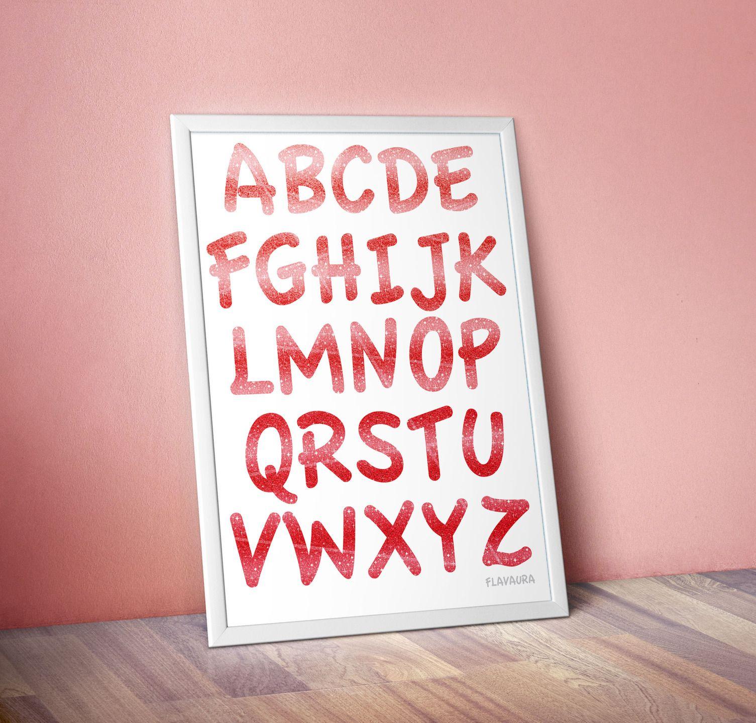 Poster Illustration apprentissage Alphabet couleur rouge Ecole et