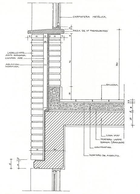 Detalle del entrepiso con antepecho de ventana y dintel for Ventana balcon medidas