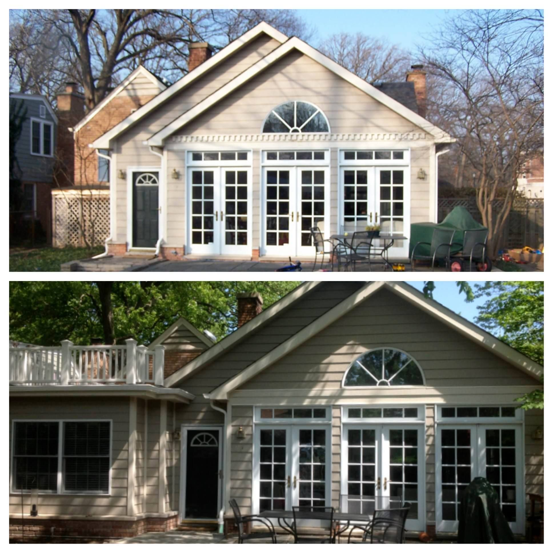 A before/after photo collage from our home addition in Evanston, IL.