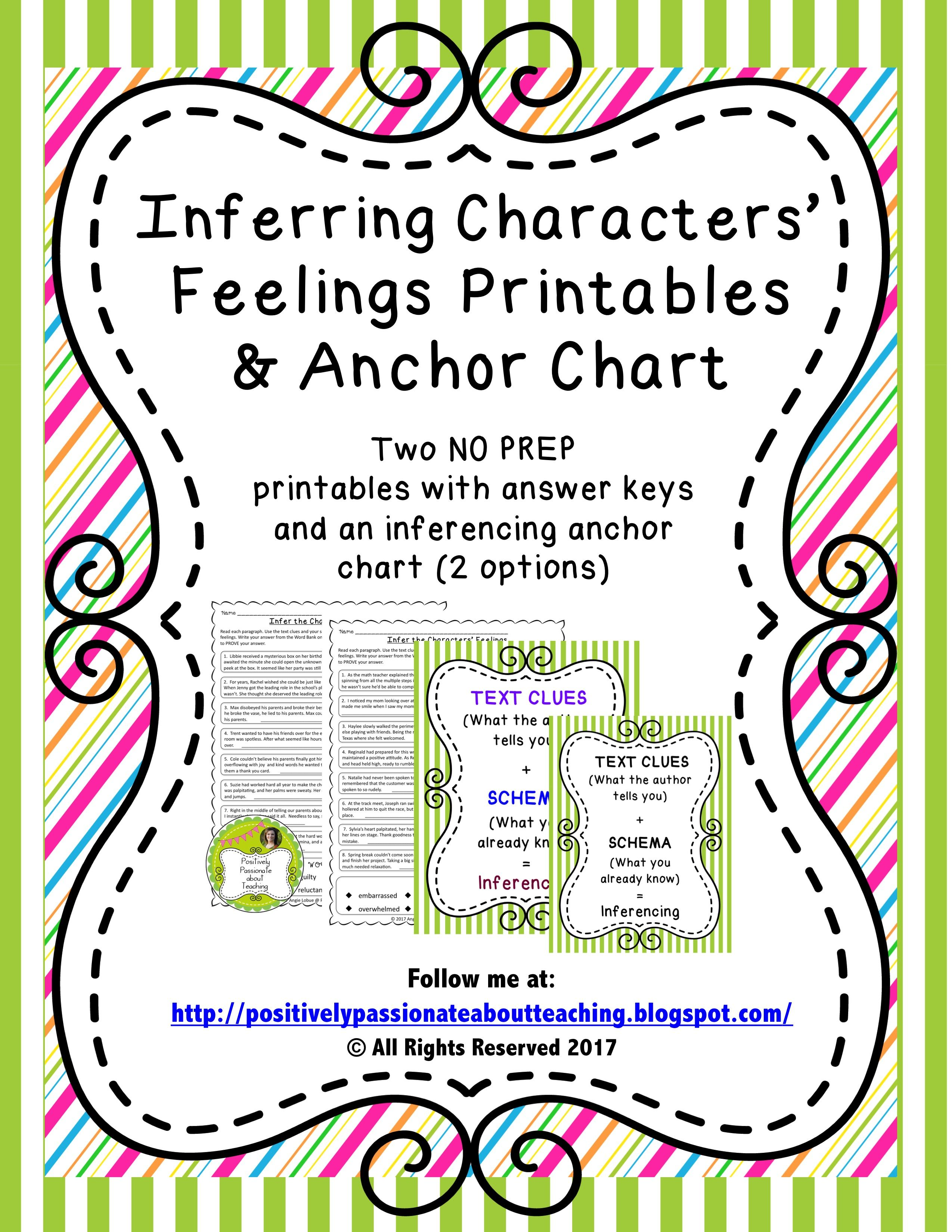 Inferencing Printables Infer Characters Feelings