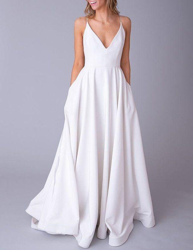 Simple White Sleeveless V Neck Full Length Evening Dress Satin Backless Pocket Long Wedd In 2020 Wedding Dresses Simple Wedding Dresses For Girls Satin Evening Dresses