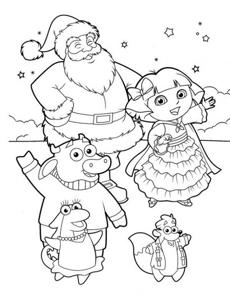 Dora Explorer Winter Coloring Pages Coloring Pages For Kids