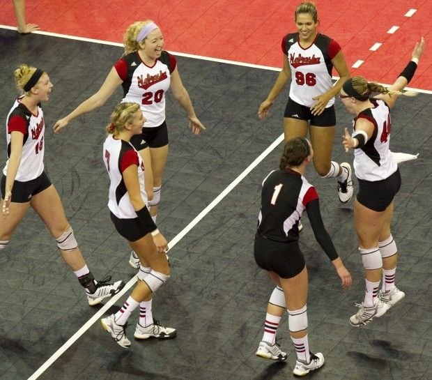 Nebraska S Allison Mcneal Meghan Haggerty And Alexa Strange Celebrate The Huskers 3 0 Win Against Notre Dame On Sunda Women Volleyball Volleyball Notre Dame