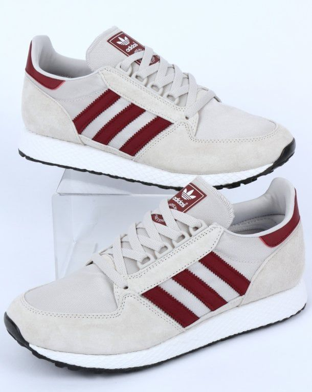 Adidas Forest Grove Trainers Chalk White/Burgundy | Shoes sneakers ...