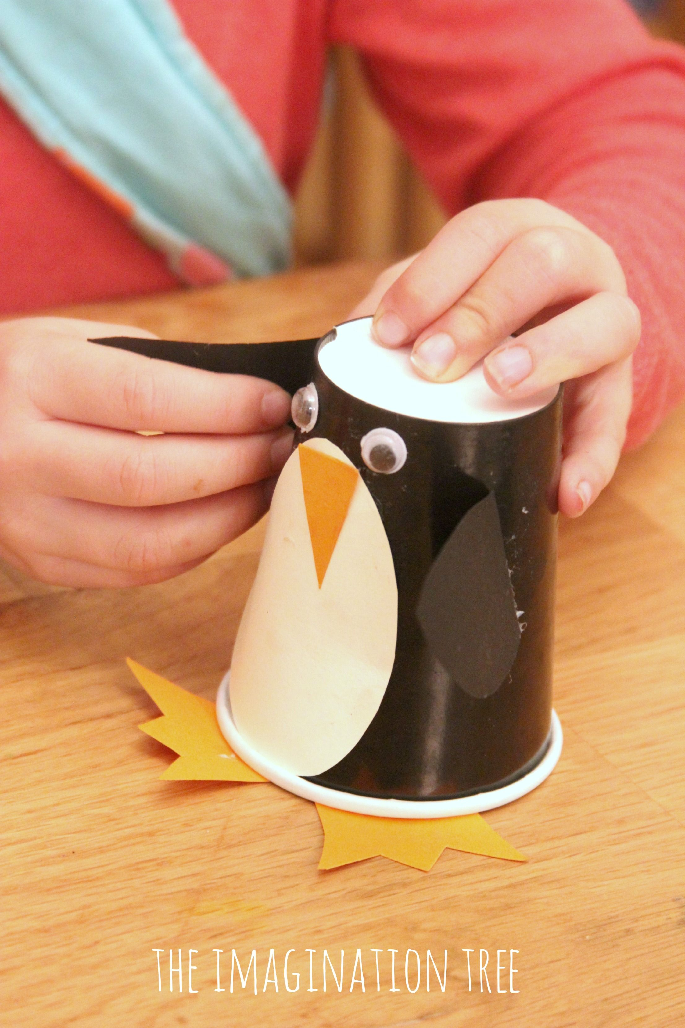 Paper cup penguin craft roll and make game paper cup crafts cup penguin paper cup craft and game good idea to store pieces in round dish jeuxipadfo Image collections