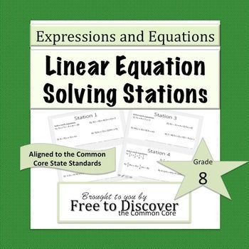 Solving Linear Equations Activity Task Cards