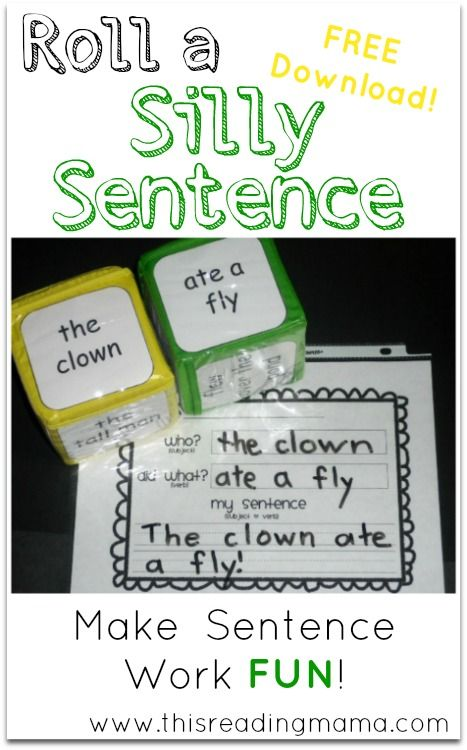graphic regarding Sentence Building Games Printable called Roll a Foolish Sentence (No cost Printable Incorporated!) Examining