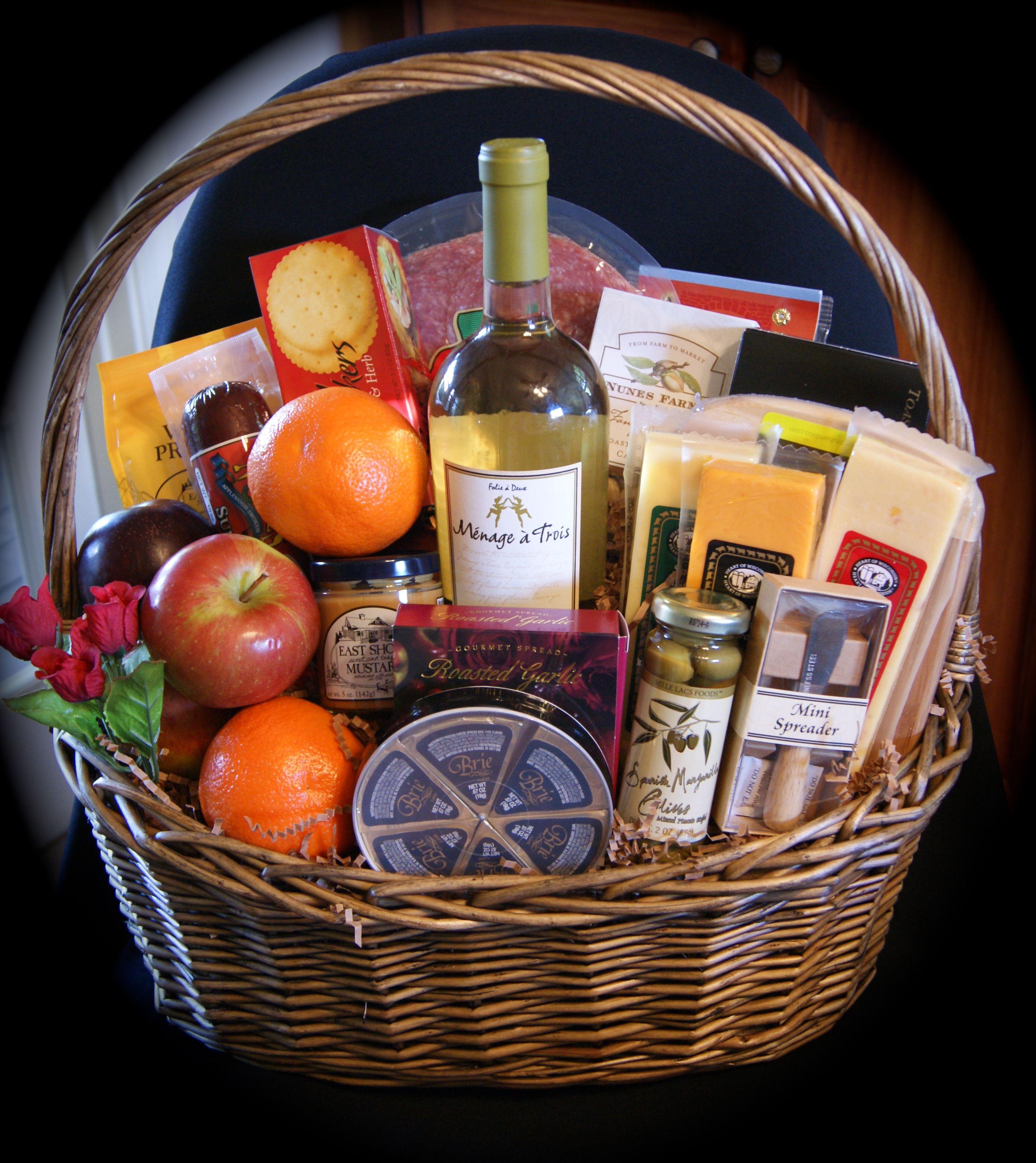 Extra large Gourmet Fruit and Wine Basket Price range $195 $245