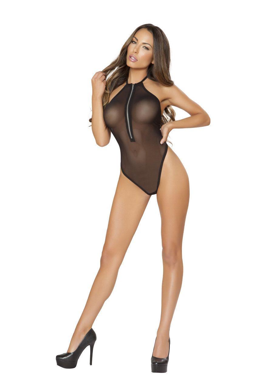 8f0cf68ba98e2 Sexy Roma Black Sheer Mesh Teddy Teddie Bodsuit Halter Zipper Front Thong  Back Lingerie Regular and Plus Sizes