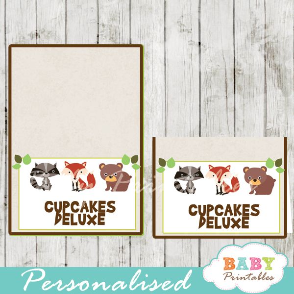 Woodland Animals themed Baby Shower food label tent cards personalized for your buffet table. The  sc 1 st  Pinterest & Woodland Baby Shower Food Tent Cards - D137 | Baby shower foods ...