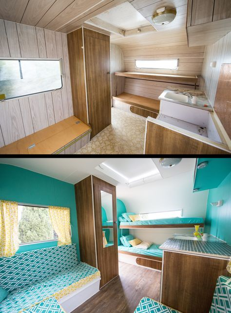 03restored caravan before and after rv remodel pinterest caravane r novation caravane et. Black Bedroom Furniture Sets. Home Design Ideas
