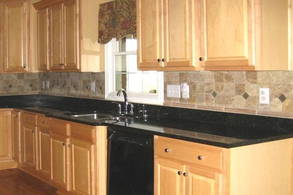 granite countertops with tile backsplash : Granite ... on Backsplash Ideas For Black Granite Countertops  id=82303