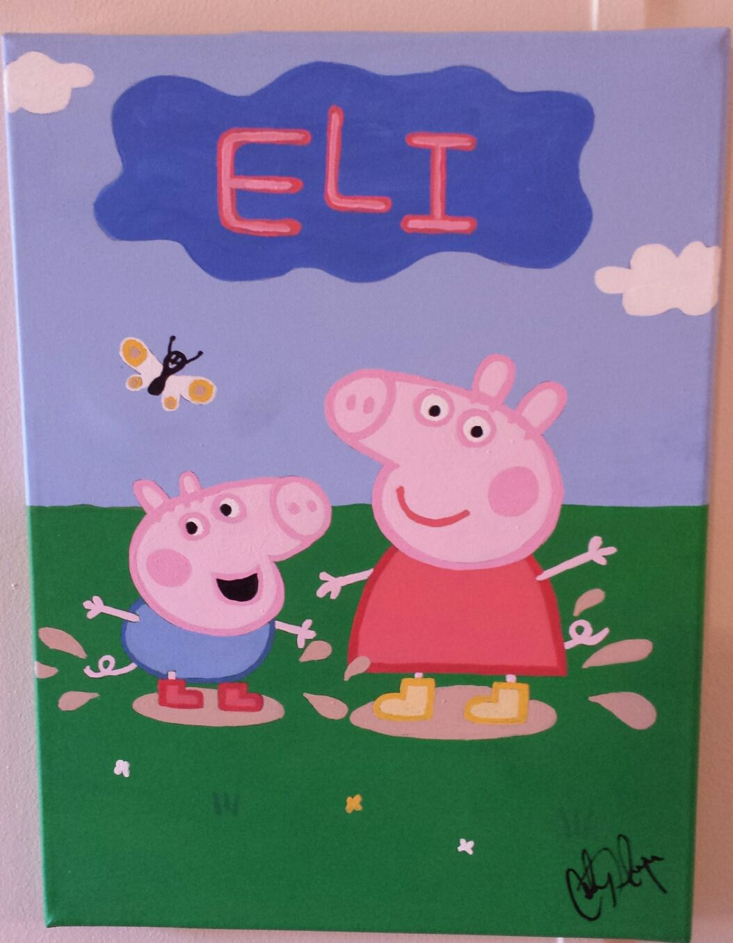 Personalized Peppa Pig George Painting Peppa Pig Painting Pig Painting Pig Decor