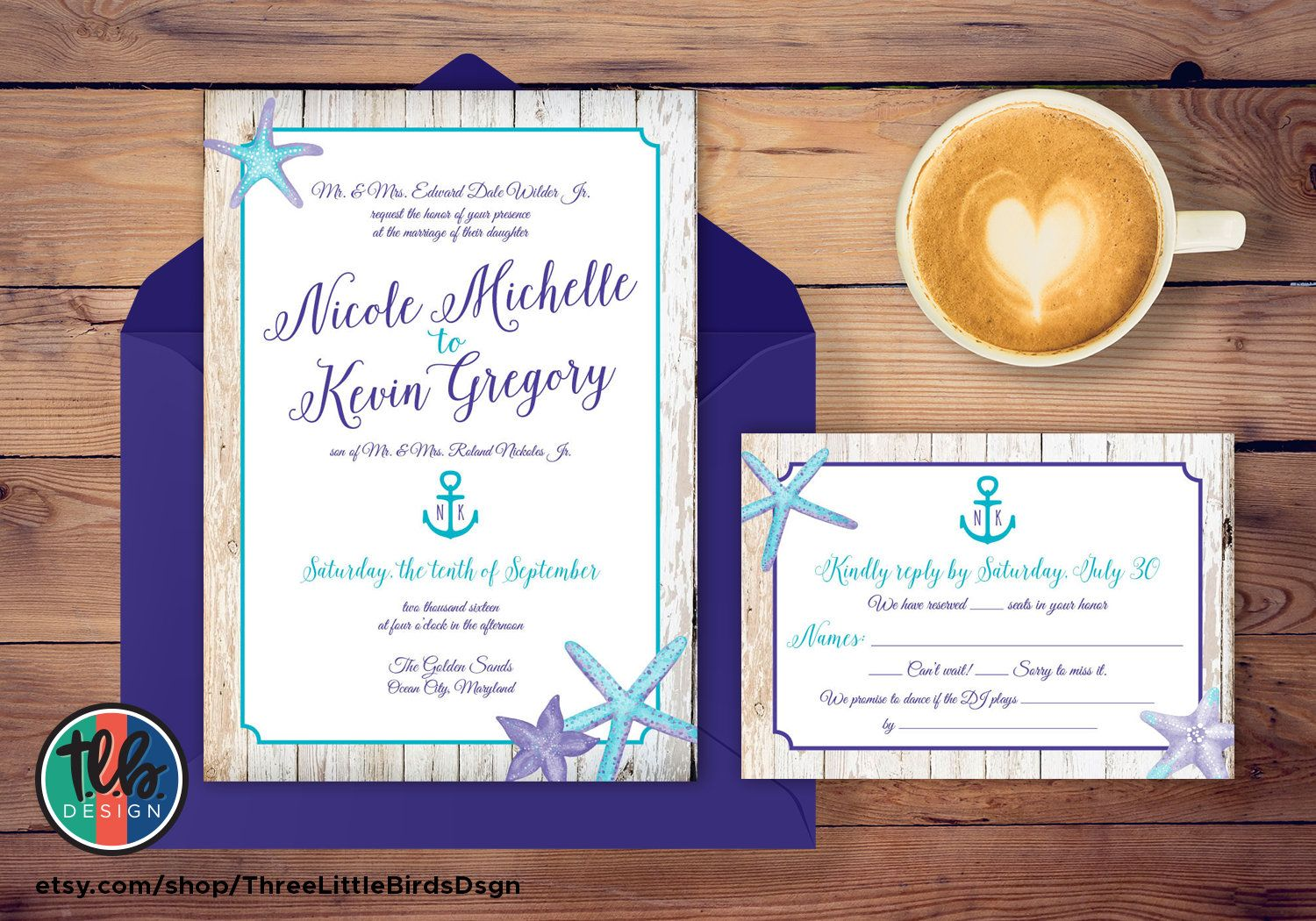 Beach Wedding Invitation Purple And Turquoise Wedding Invitation