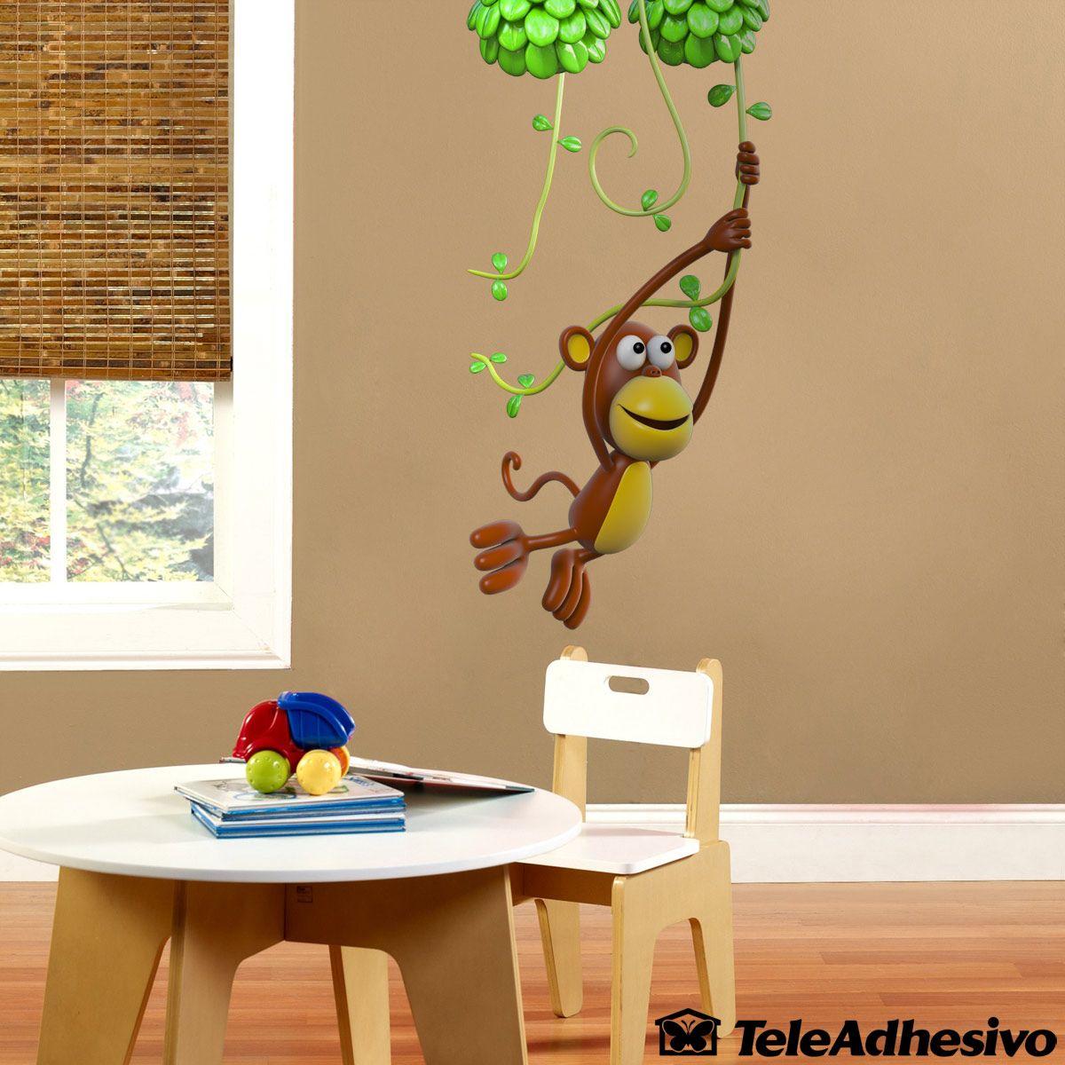 Awesome Kinderzimmer Wandtattoo Affe Spiel auf der Rebe