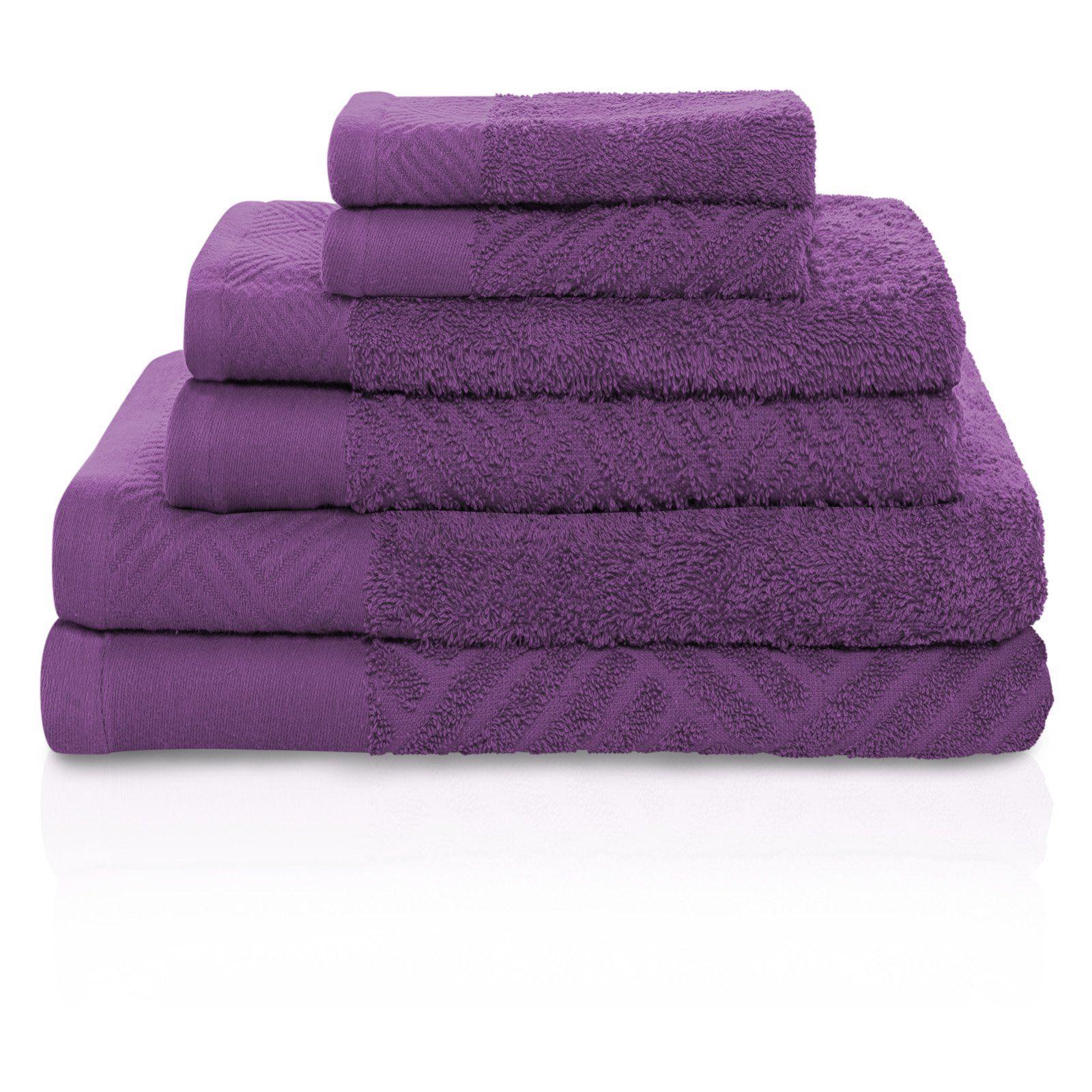 Superior Basket Weave Egyptian Cotton 6 Piece Towel Set Purple Bathroom Rug Towel Set Purple Towels [ 1600 x 1600 Pixel ]